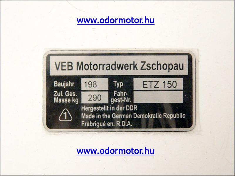 ETZ 150 TiPUSTÁBLA /ETZ150/ - 1790 Ft